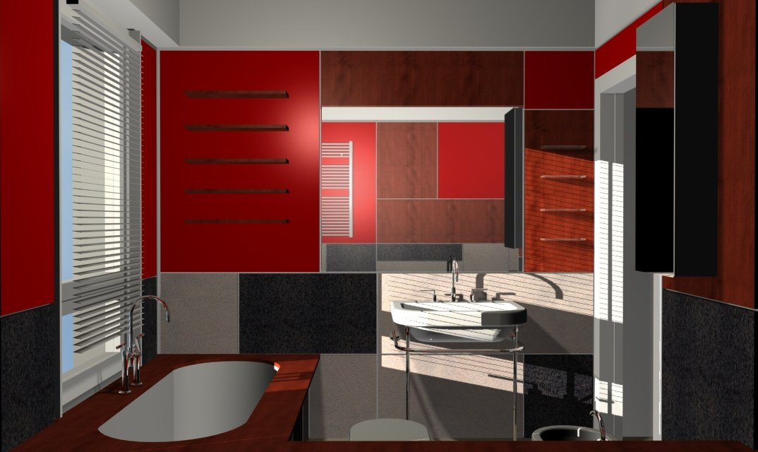 Bathroom with red lacquered panels - Alessandro Villa architect