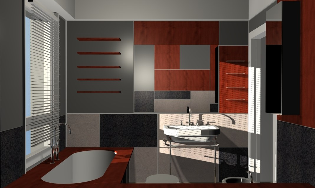 Bathroom with gray lacquered panels - Alessandro Villa architect