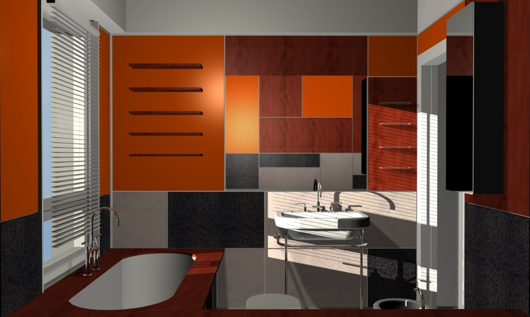 Bathroom with orange lacquered panels - Alessandro Villa architect